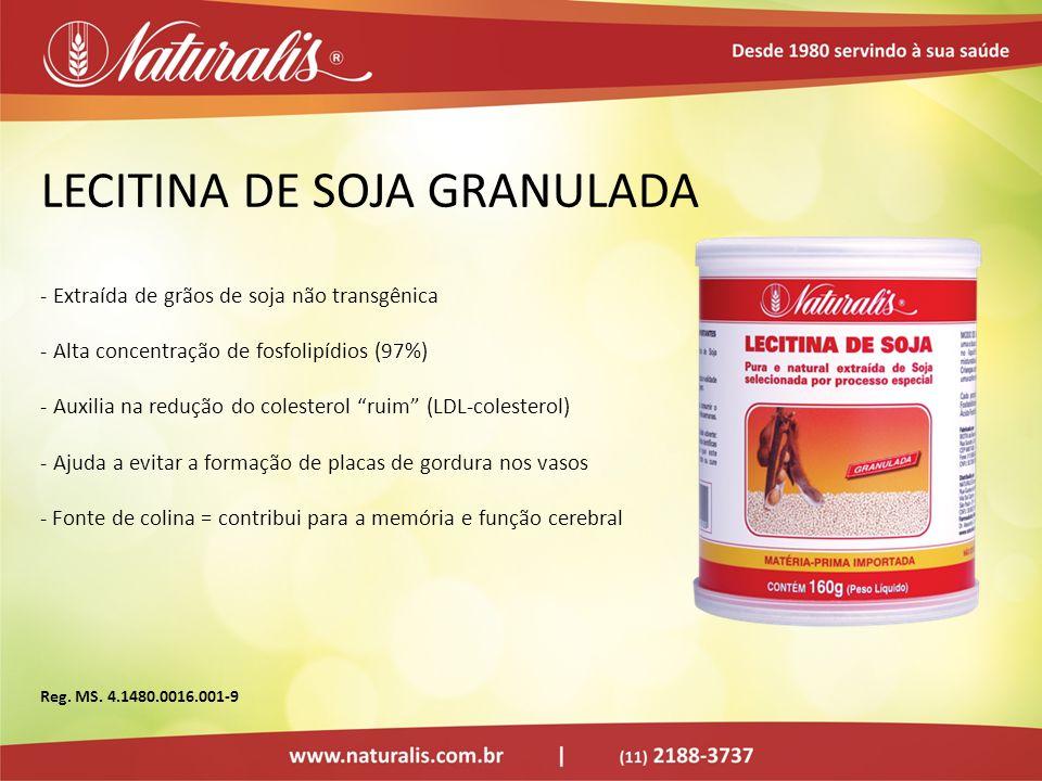 LECITINA DE SOJA GRANULADA - Extraída de grãos de soja não transgênica - Alta concentração de fosfolipídios (97%) - Auxilia na redução do colesterol r