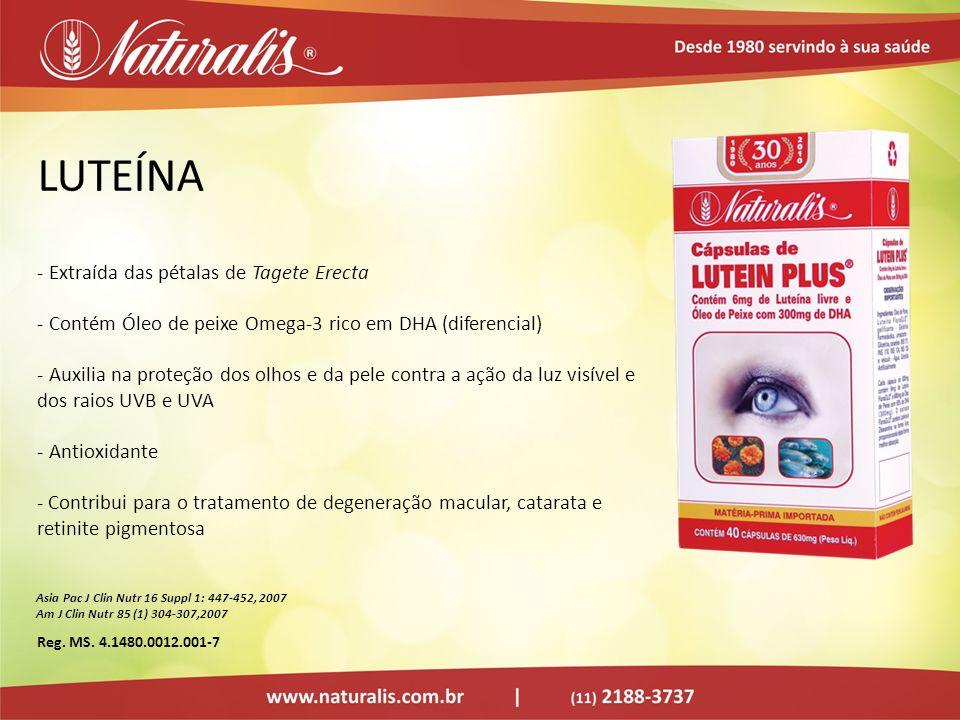 LUTEÍNA - Extraída das pétalas de Tagete Erecta - Contém Óleo de peixe Omega-3 rico em DHA (diferencial) - Auxilia na proteção dos olhos e da pele con