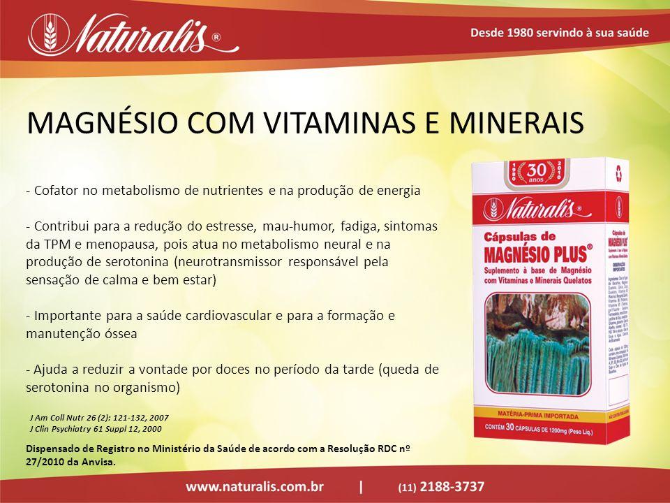 MAGNÉSIO COM VITAMINAS E MINERAIS - Cofator no metabolismo de nutrientes e na produção de energia - Contribui para a redução do estresse, mau-humor, f