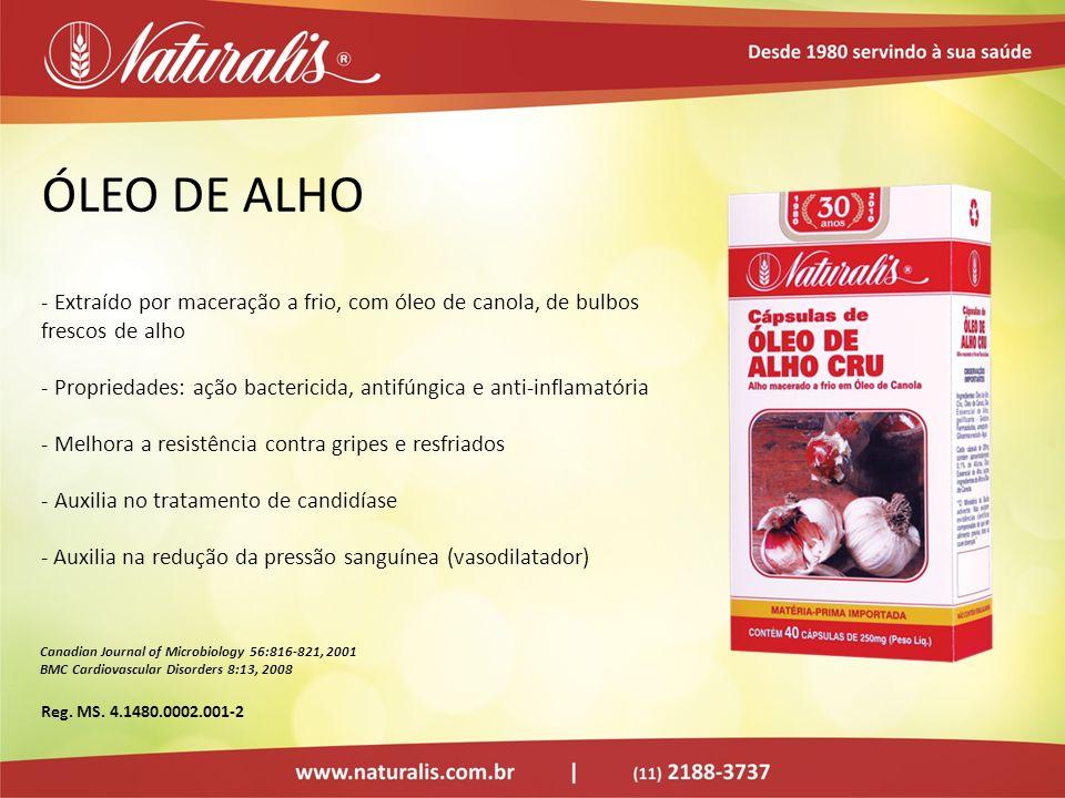 ÓLEO DE ALHO - Extraído por maceração a frio, com óleo de canola, de bulbos frescos de alho - Propriedades: ação bactericida, antifúngica e anti-infla