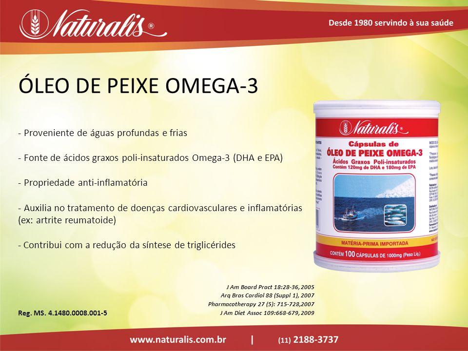 ÓLEO DE PEIXE OMEGA-3 - Proveniente de águas profundas e frias - Fonte de ácidos graxos poli-insaturados Omega-3 (DHA e EPA) - Propriedade anti-inflam