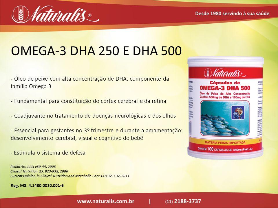 OMEGA-3 DHA 250 E DHA 500 - Óleo de peixe com alta concentração de DHA: componente da família Omega-3 - Fundamental para constituição do córtex cerebr