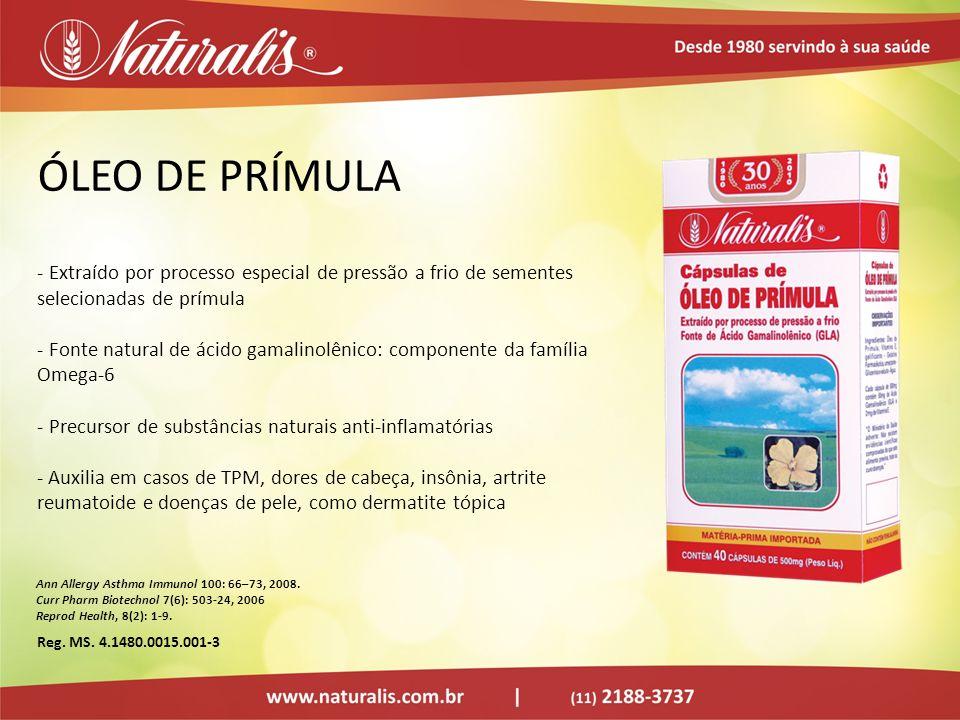 ÓLEO DE PRÍMULA - Extraído por processo especial de pressão a frio de sementes selecionadas de prímula - Fonte natural de ácido gamalinolênico: compon