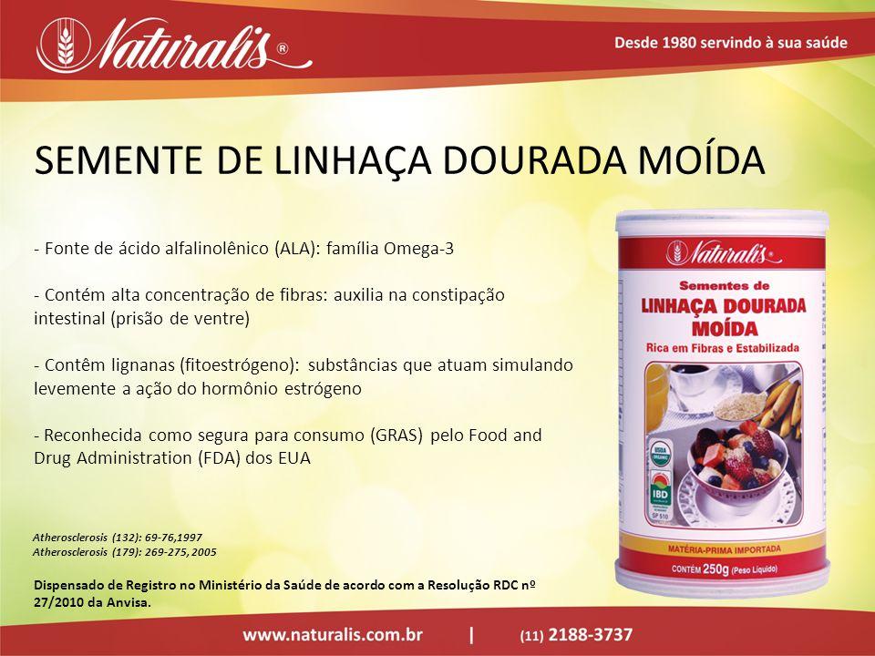 SEMENTE DE LINHAÇA DOURADA MOÍDA - Fonte de ácido alfalinolênico (ALA): família Omega-3 - Contém alta concentração de fibras: auxilia na constipação i