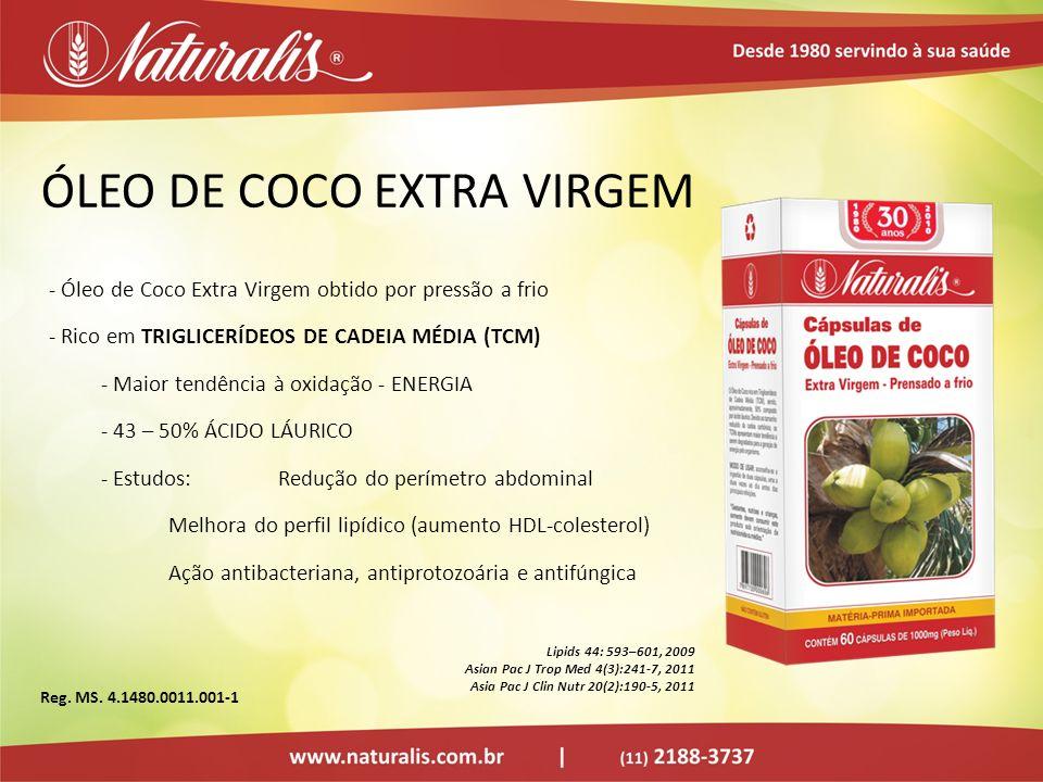 ÓLEO DE COCO EXTRA VIRGEM - Óleo de Coco Extra Virgem obtido por pressão a frio - Rico em TRIGLICERÍDEOS DE CADEIA MÉDIA (TCM) - Maior tendência à oxi