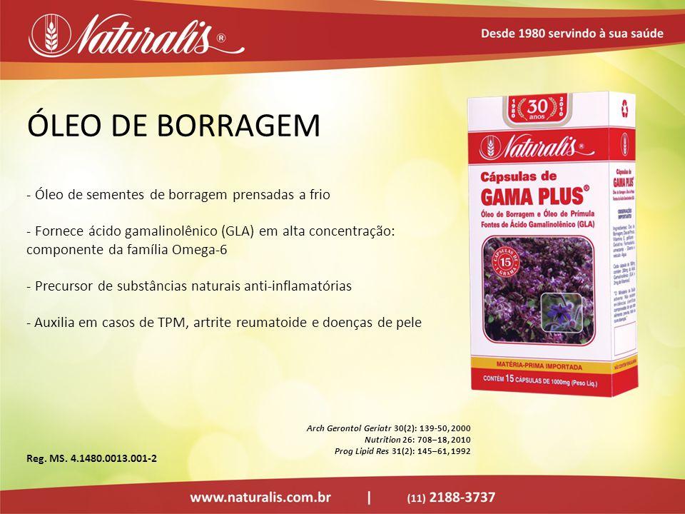 ÓLEO DE BORRAGEM - Óleo de sementes de borragem prensadas a frio - Fornece ácido gamalinolênico (GLA) em alta concentração: componente da família Omeg