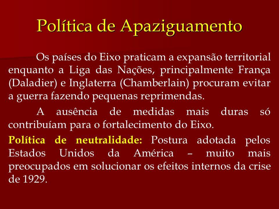 Política de Apaziguamento Os países do Eixo praticam a expansão territorial enquanto a Liga das Nações, principalmente França (Daladier) e Inglaterra