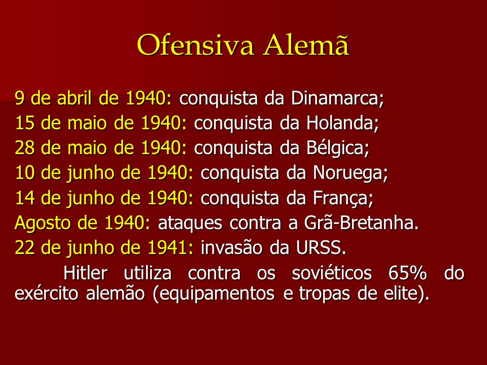 Ofensiva Alemã 9 de abril de 1940: conquista da Dinamarca; 15 de maio de 1940: conquista da Holanda; 28 de maio de 1940: conquista da Bélgica; 10 de j