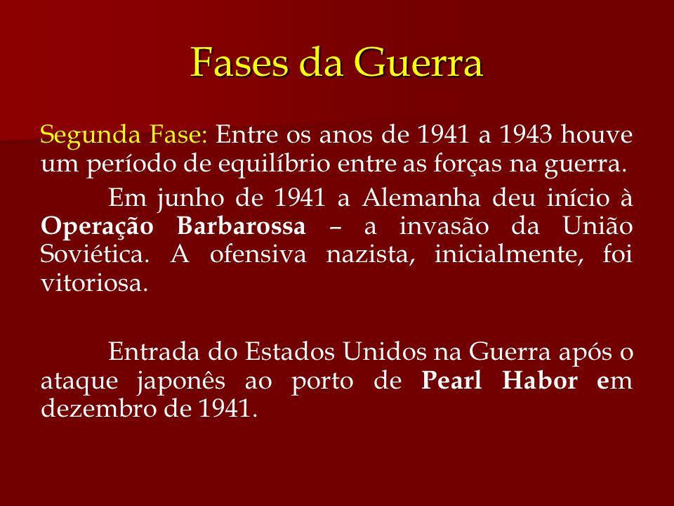 Fases da Guerra Segunda Fase: Entre os anos de 1941 a 1943 houve um período de equilíbrio entre as forças na guerra. Em junho de 1941 a Alemanha deu i