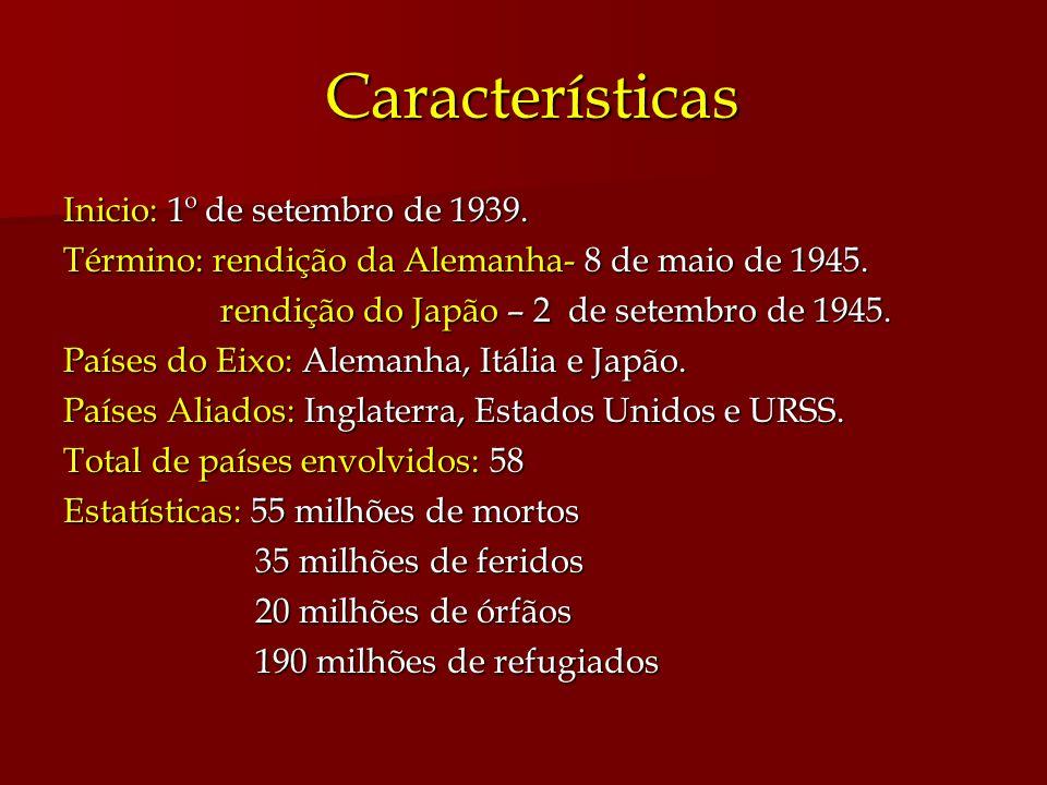 Características Características Inicio: 1º de setembro de 1939. Término: rendição da Alemanha- 8 de maio de 1945. rendição do Japão – 2 de setembro de