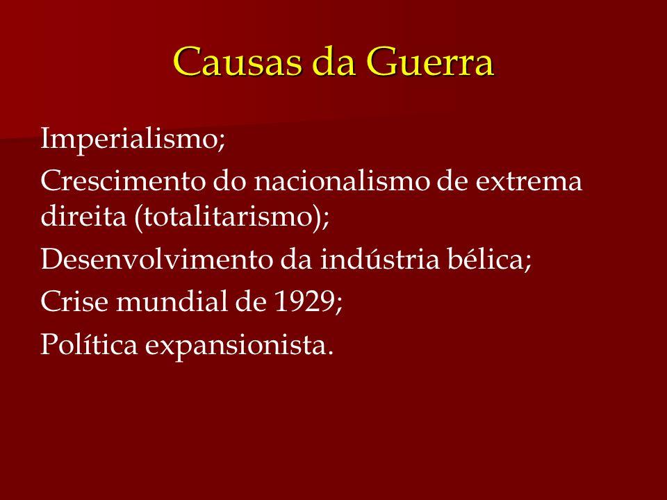 Causas da Guerra Imperialismo; Crescimento do nacionalismo de extrema direita (totalitarismo); Desenvolvimento da indústria bélica; Crise mundial de 1