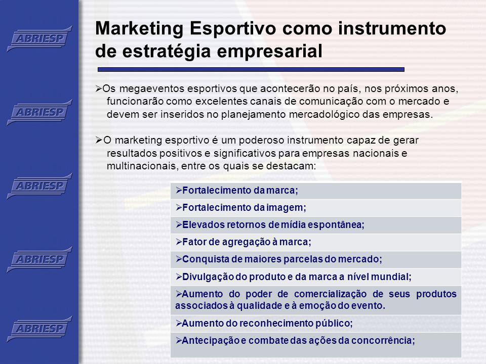 Marketing Esportivo como instrumento de estratégia empresarial Os megaeventos esportivos que acontecerão no país, nos próximos anos, funcionarão como