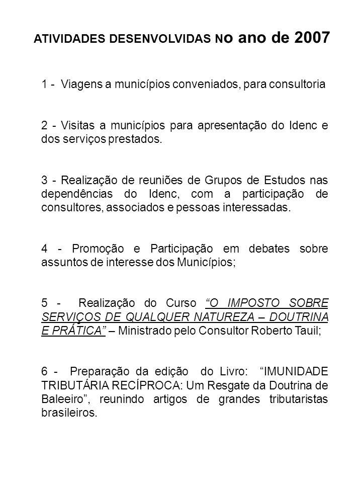 ATIVIDADES DESENVOLVIDAS N o ano de 2007 1 - Viagens a municípios conveniados, para consultoria 2 - Visitas a municípios para apresentação do Idenc e
