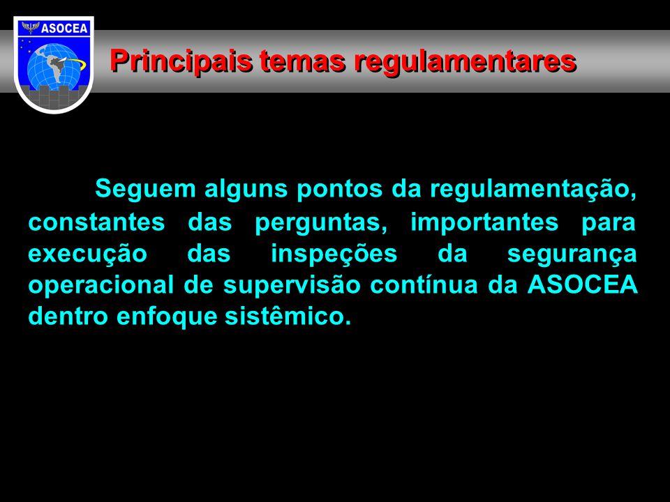 Seguem alguns pontos da regulamentação, constantes das perguntas, importantes para execução das inspeções da segurança operacional de supervisão contí