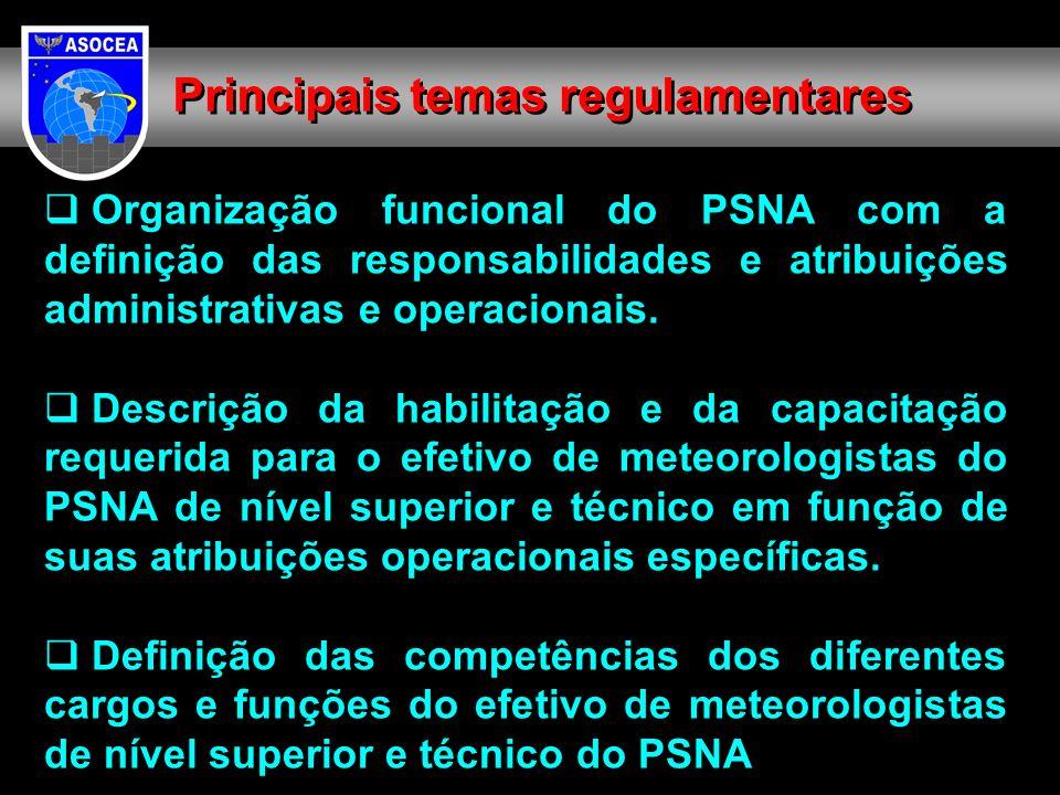 Organização funcional do PSNA com a definição das responsabilidades e atribuições administrativas e operacionais. Descrição da habilitação e da capaci