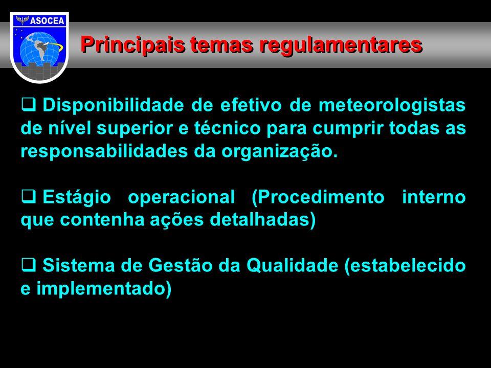 Disponibilidade de efetivo de meteorologistas de nível superior e técnico para cumprir todas as responsabilidades da organização. Estágio operacional
