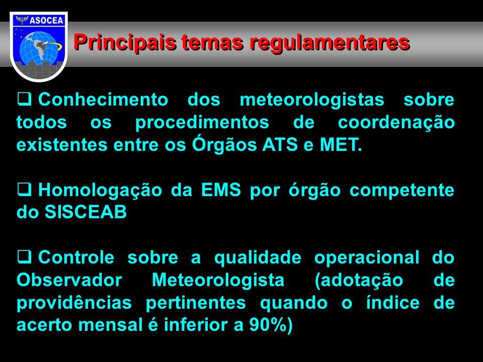 Conhecimento dos meteorologistas sobre todos os procedimentos de coordenação existentes entre os Órgãos ATS e MET. Homologação da EMS por órgão compet