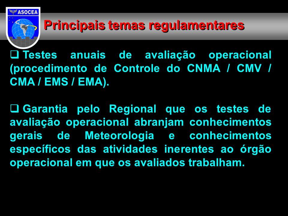 Testes anuais de avaliação operacional (procedimento de Controle do CNMA / CMV / CMA / EMS / EMA). Garantia pelo Regional que os testes de avaliação o