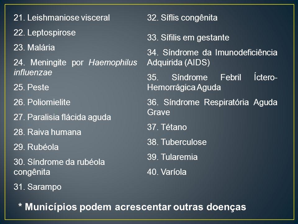 21. Leishmaniose visceral 22. Leptospirose 23. Malária 24. Meningite por Haemophilus influenzae 25. Peste 26. Poliomielite 27. Paralisia flácida aguda