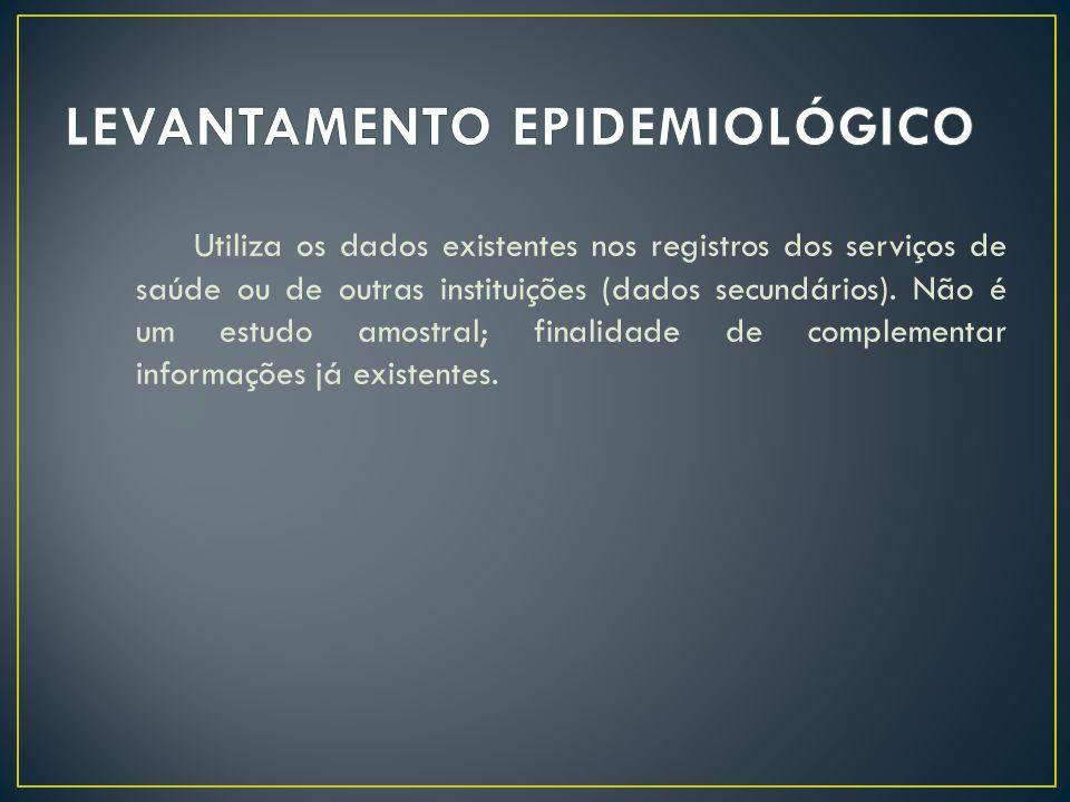 Utiliza os dados existentes nos registros dos serviços de saúde ou de outras instituições (dados secundários). Não é um estudo amostral; finalidade de