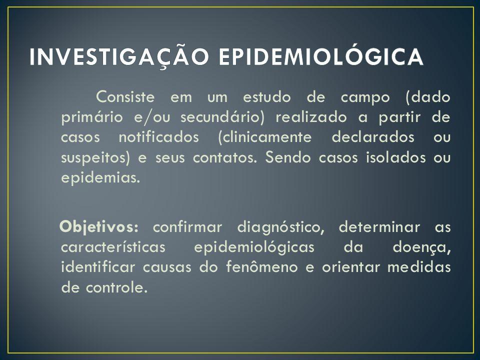 Consiste em um estudo de campo (dado primário e/ou secundário) realizado a partir de casos notificados (clinicamente declarados ou suspeitos) e seus c