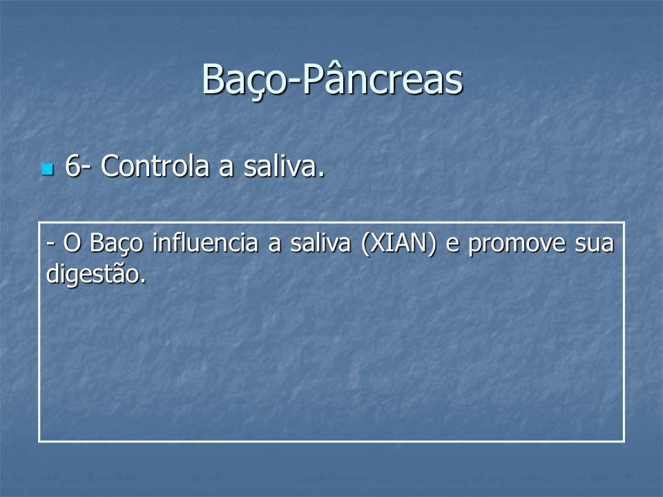 Baço-Pâncreas 6- Controla a saliva. 6- Controla a saliva. - O Baço influencia a saliva (XIAN) e promove sua digestão.