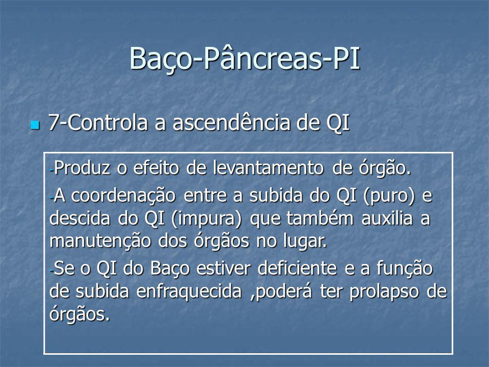 Baço-Pâncreas-PI 7-Controla a ascendência de QI 7-Controla a ascendência de QI - Produz o efeito de levantamento de órgão. - A coordenação entre a sub