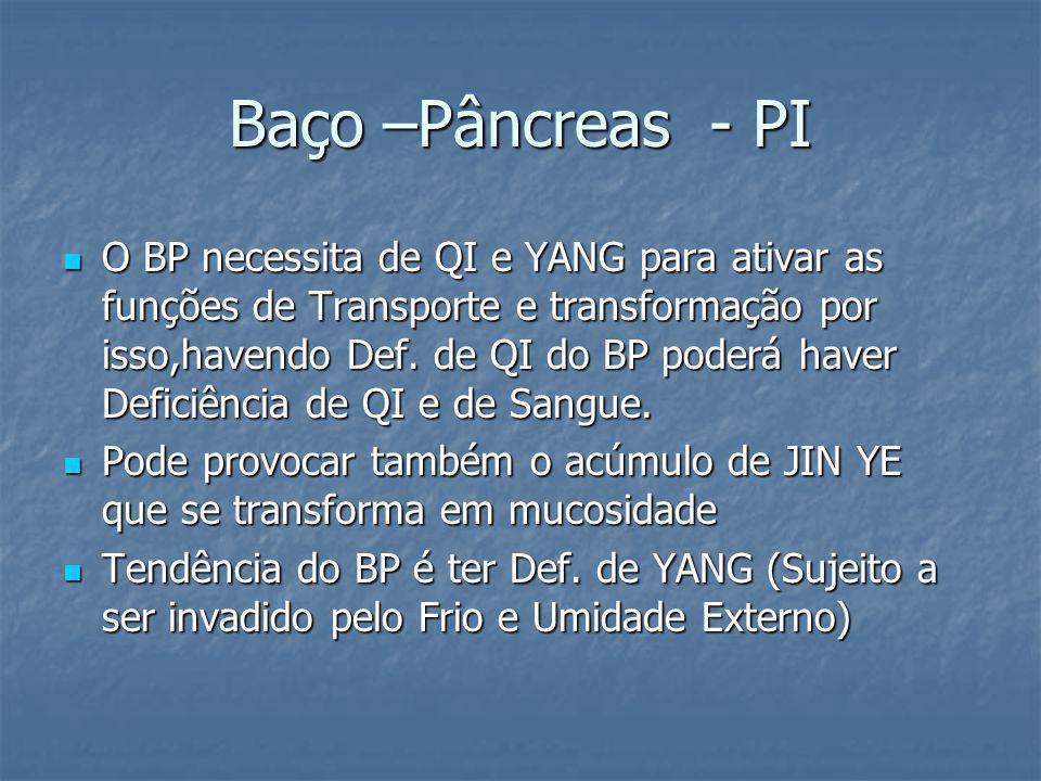Baço –Pâncreas - PI O BP necessita de QI e YANG para ativar as funções de Transporte e transformação por isso,havendo Def. de QI do BP poderá haver De