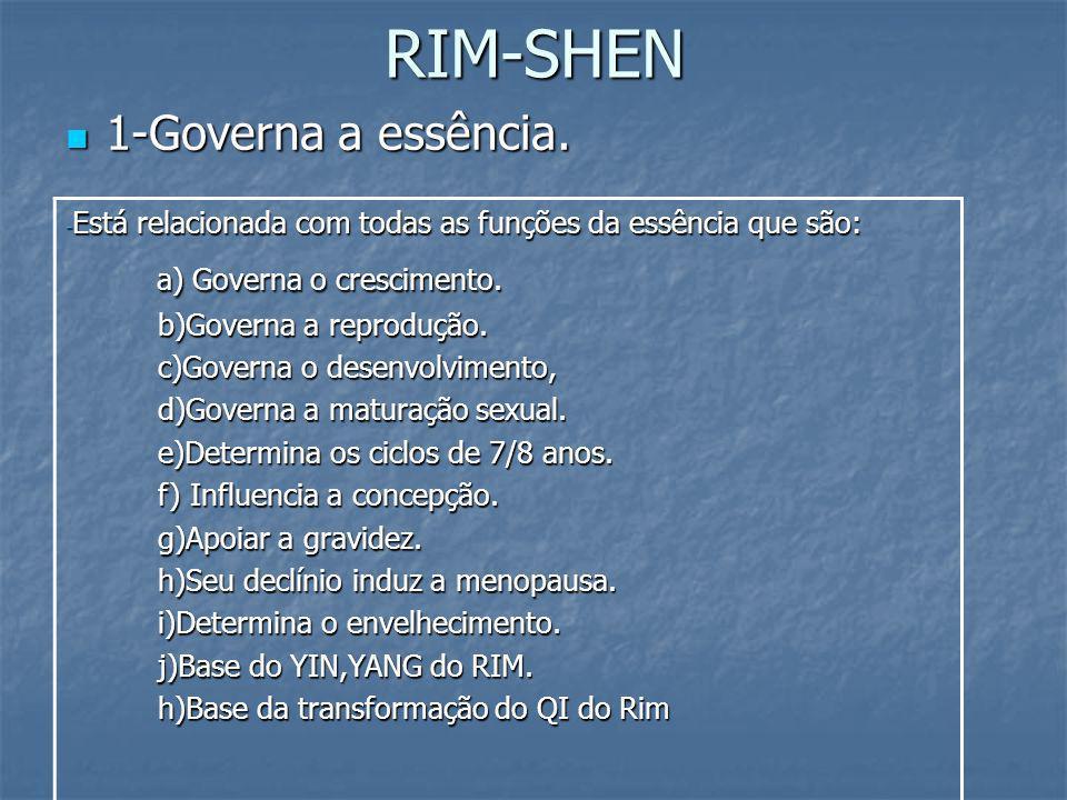 RIM-SHEN 1-Governa a essência. 1-Governa a essência. - Está relacionada com todas as funções da essência que são: a) Governa o crescimento. a) Governa