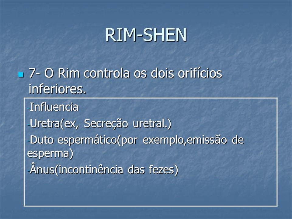 RIM-SHEN 7- O Rim controla os dois orifícios inferiores. 7- O Rim controla os dois orifícios inferiores. - Influencia - Uretra(ex, Secreção uretral.)
