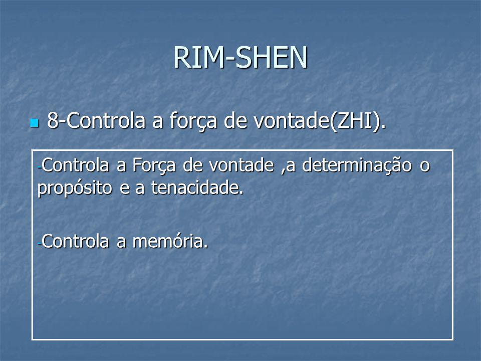 RIM-SHEN 8-Controla a força de vontade(ZHI). 8-Controla a força de vontade(ZHI). - Controla a Força de vontade,a determinação o propósito e a tenacida