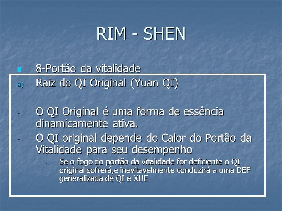 RIM - SHEN 8-Portão da vitalidade 8-Portão da vitalidade a) Raiz do QI Original (Yuan QI) - O QI Original é uma forma de essência dinamicamente ativa.