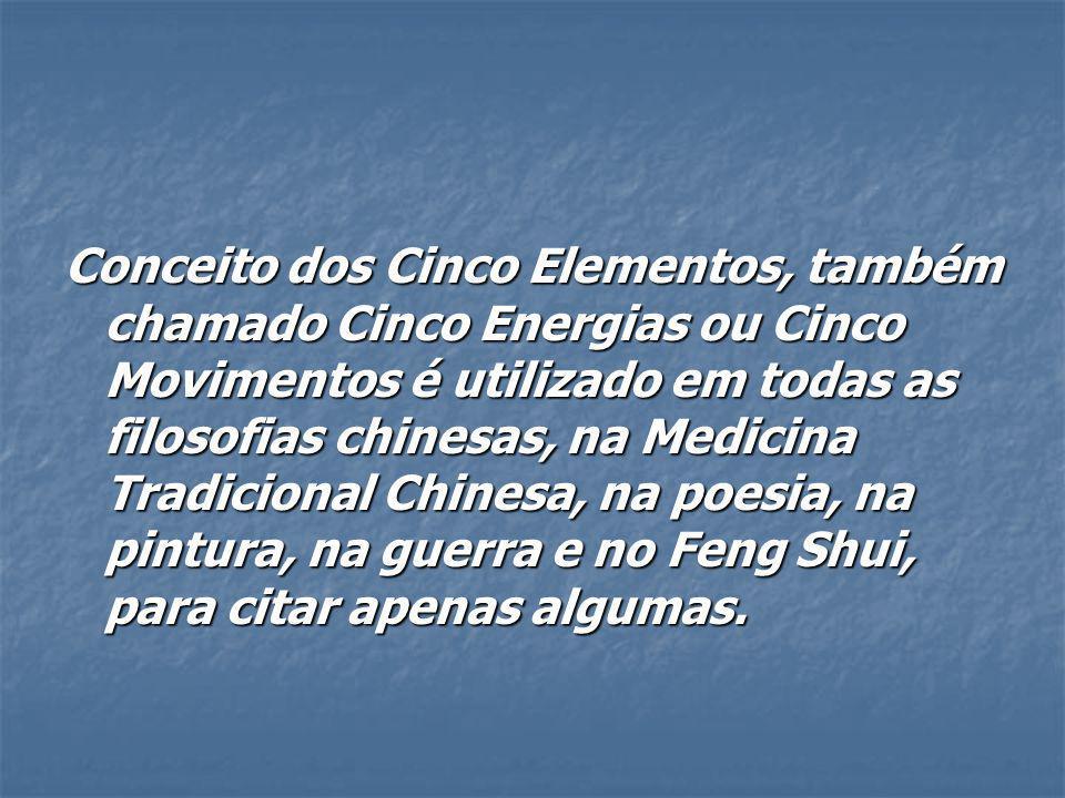 Conceito dos Cinco Elementos, também chamado Cinco Energias ou Cinco Movimentos é utilizado em todas as filosofias chinesas, na Medicina Tradicional C