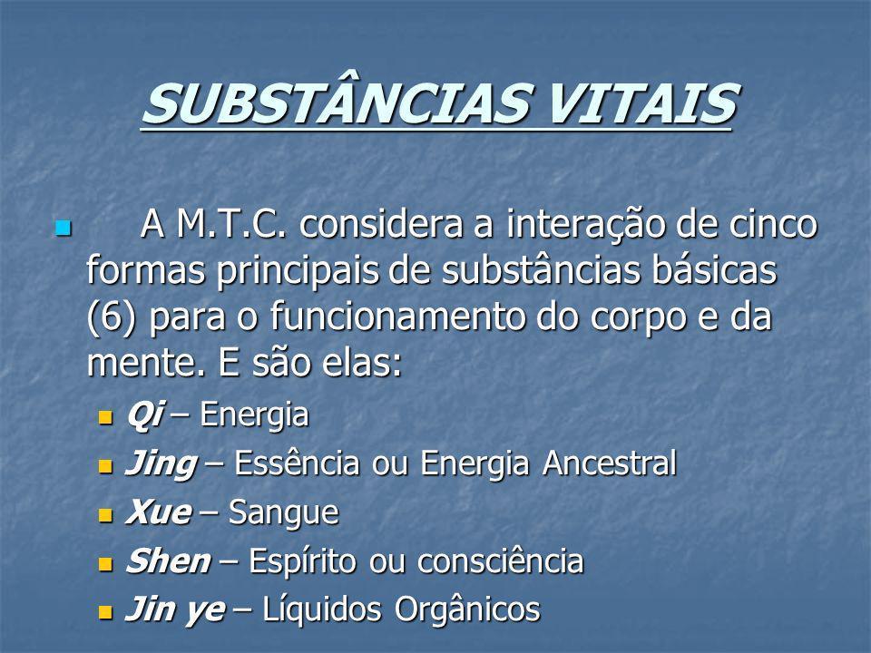 SUBSTÂNCIAS VITAIS A M.T.C. considera a interação de cinco formas principais de substâncias básicas (6) para o funcionamento do corpo e da mente. E sã