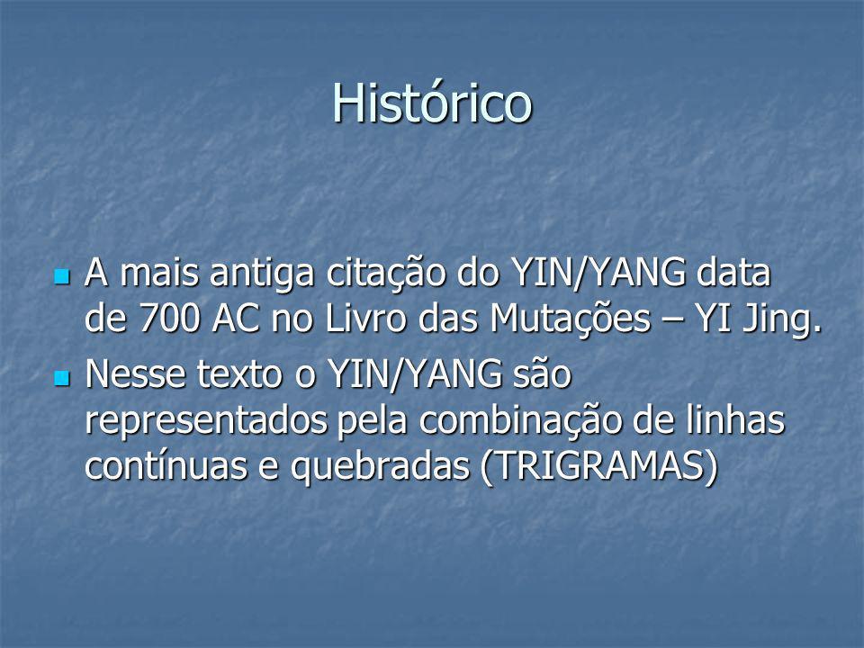 Histórico A mais antiga citação do YIN/YANG data de 700 AC no Livro das Mutações – YI Jing. A mais antiga citação do YIN/YANG data de 700 AC no Livro