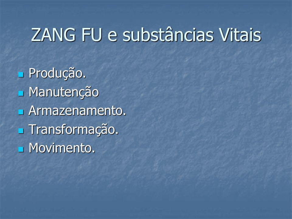 ZANG FU e substâncias Vitais Produção. Produção. Manutenção Manutenção Armazenamento. Armazenamento. Transformação. Transformação. Movimento. Moviment