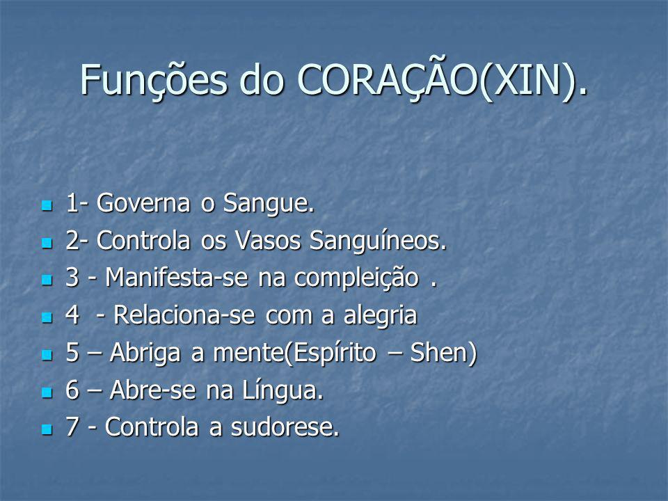 Funções do CORAÇÃO(XIN). 1- Governa o Sangue. 1- Governa o Sangue. 2- Controla os Vasos Sanguíneos. 2- Controla os Vasos Sanguíneos. 3 - Manifesta-se