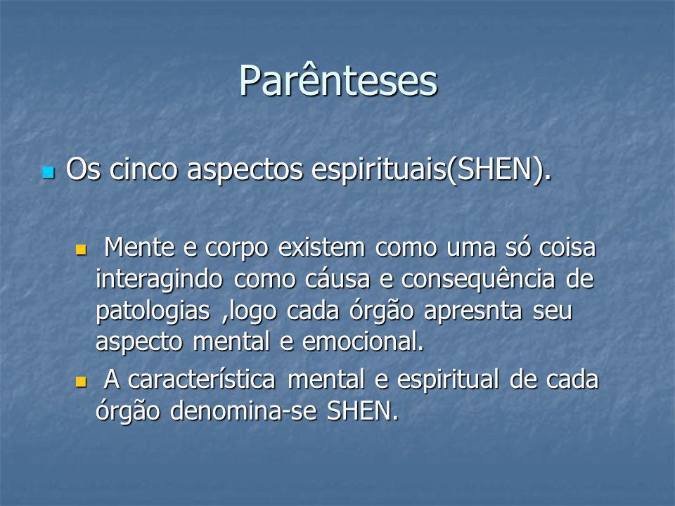 Parênteses Os cinco aspectos espirituais(SHEN). Os cinco aspectos espirituais(SHEN). Mente e corpo existem como uma só coisa interagindo como cáusa e