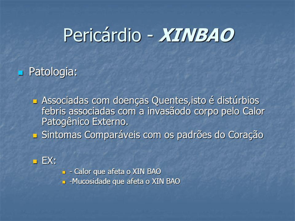 Pericárdio - XINBAO Patologia: Patologia: Associadas com doenças Quentes,isto é distúrbios febris associadas com a invasãodo corpo pelo Calor Patogêni