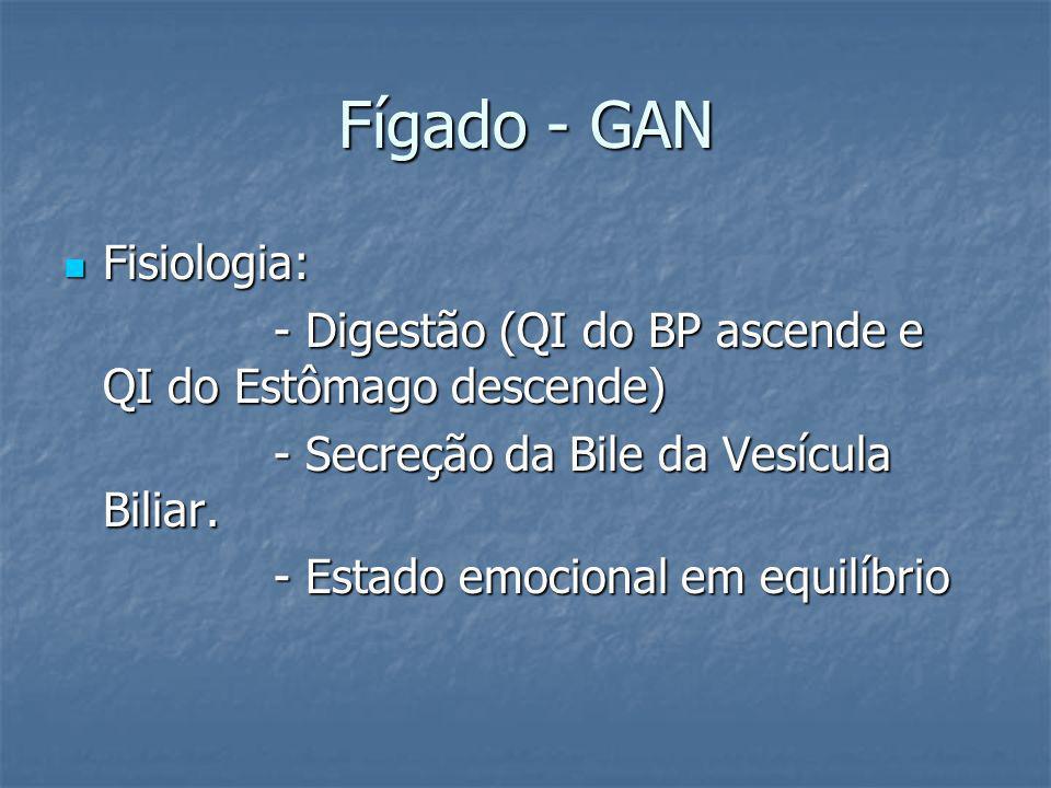 Fígado - GAN Fisiologia: Fisiologia: - Digestão (QI do BP ascende e QI do Estômago descende) - Secreção da Bile da Vesícula Biliar. - Estado emocional