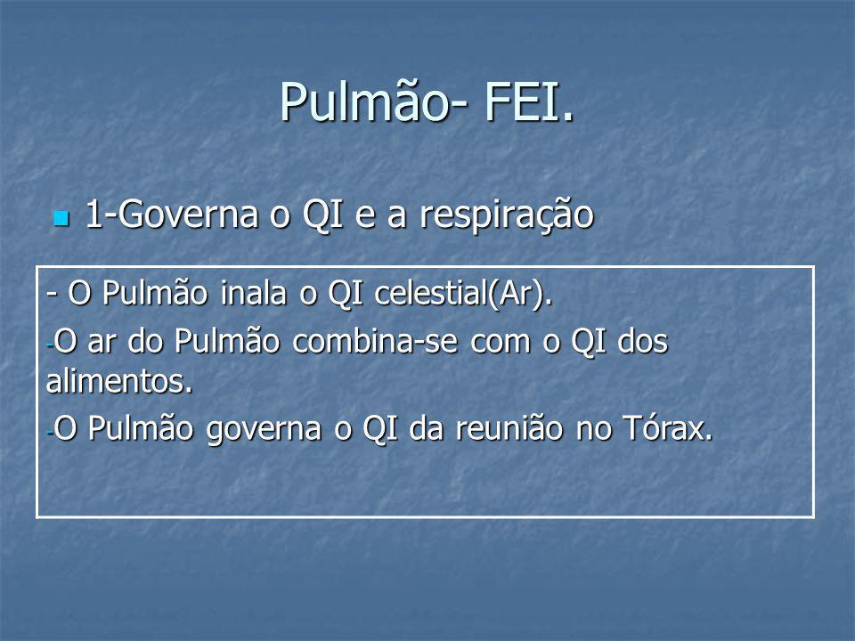 Pulmão- FEI. 1-Governa o QI e a respiração 1-Governa o QI e a respiração - O Pulmão inala o QI celestial(Ar). - O ar do Pulmão combina-se com o QI dos