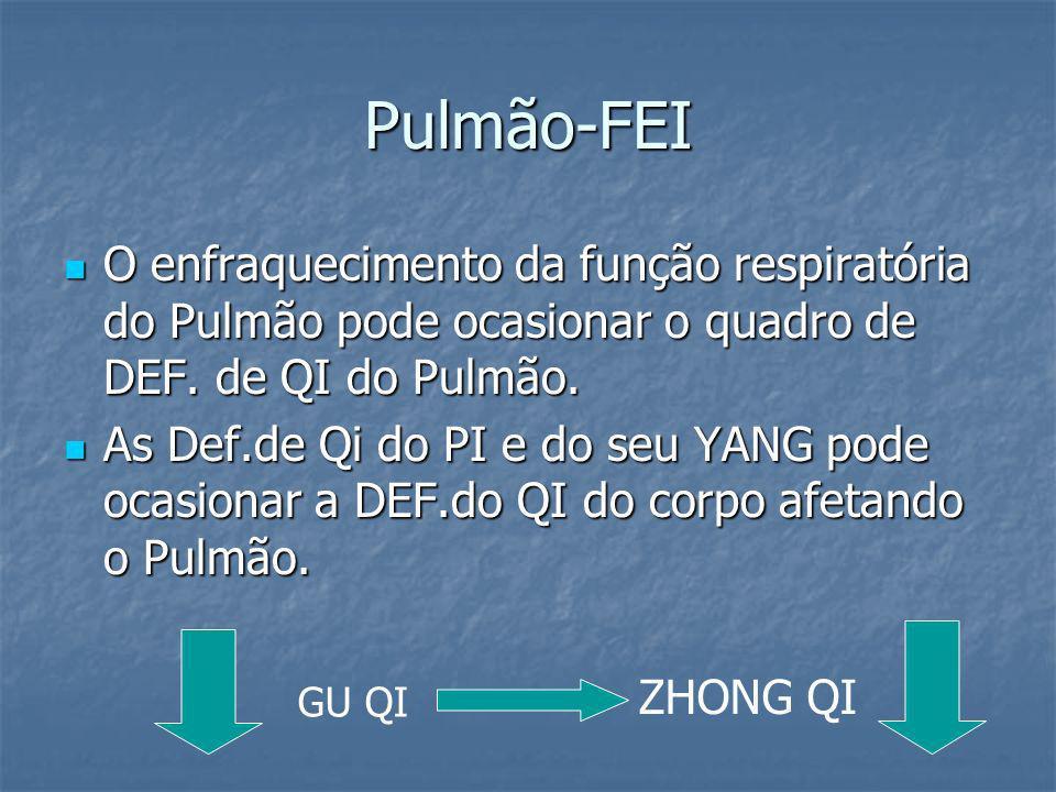 Pulmão-FEI O enfraquecimento da função respiratória do Pulmão pode ocasionar o quadro de DEF. de QI do Pulmão. O enfraquecimento da função respiratóri