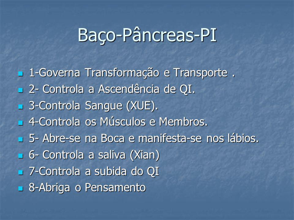 Baço-Pâncreas-PI 1-Governa Transformação e Transporte. 1-Governa Transformação e Transporte. 2- Controla a Ascendência de QI. 2- Controla a Ascendênci