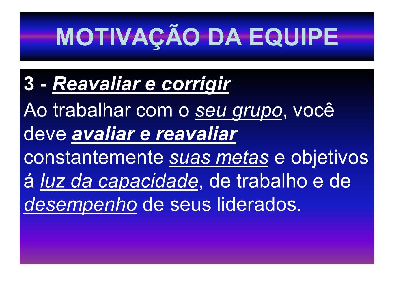MOTIVAÇÃO DA EQUIPE 3 - Reavaliar e corrigir Ao trabalhar com o seu grupo, você deve avaliar e reavaliar constantemente suas metas e objetivos á luz d