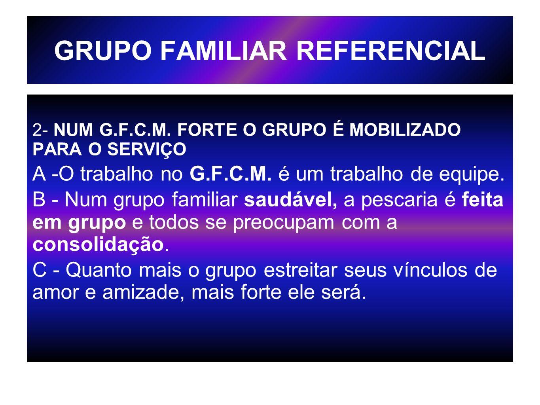 GRUPO FAMILIAR REFERENCIAL 2- NUM G.F.C.M. FORTE O GRUPO É MOBILIZADO PARA O SERVIÇO A -O trabalho no G.F.C.M. é um trabalho de equipe. B - Num grupo