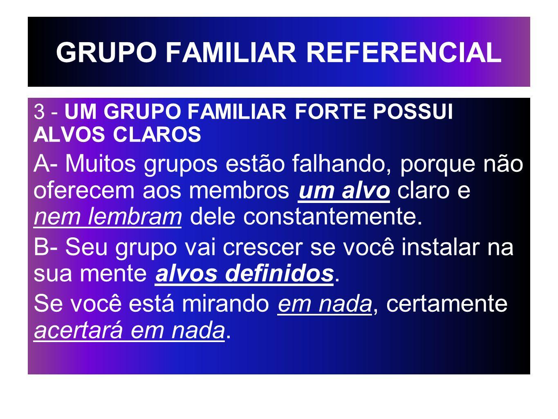 GRUPO FAMILIAR REFERENCIAL 3 - UM GRUPO FAMILIAR FORTE POSSUI ALVOS CLAROS A- Muitos grupos estão falhando, porque não oferecem aos membros um alvo cl