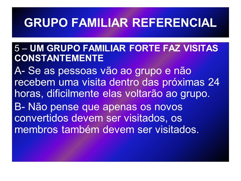 GRUPO FAMILIAR REFERENCIAL 5 – UM GRUPO FAMILIAR FORTE FAZ VISITAS CONSTANTEMENTE A- Se as pessoas vão ao grupo e não recebem uma visita dentro das pr