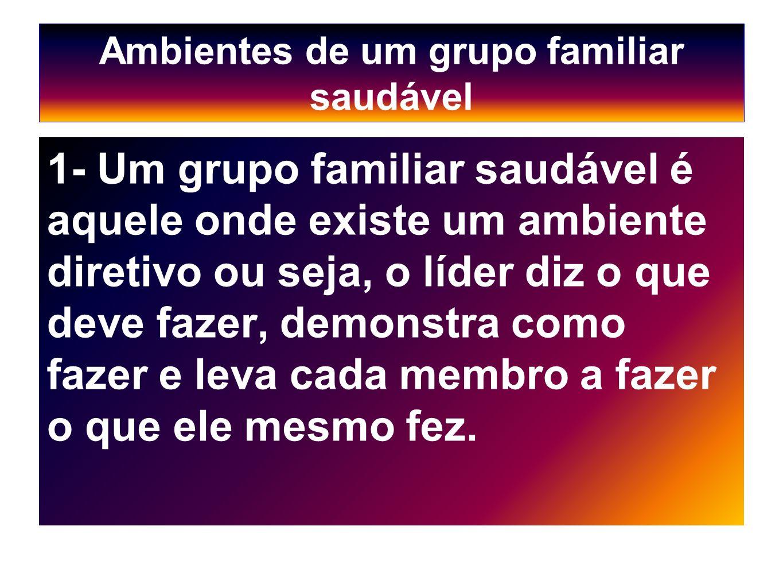 Ambientes de um grupo familiar saudável 1- Um grupo familiar saudável é aquele onde existe um ambiente diretivo ou seja, o líder diz o que deve fazer,