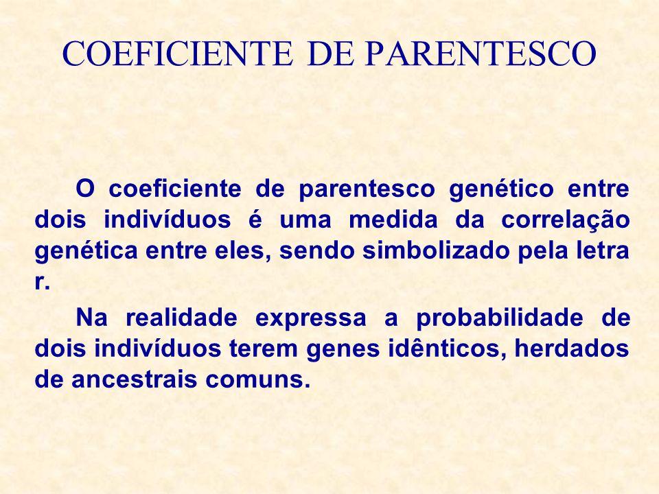 COEFICIENTE DE PARENTESCO O coeficiente de parentesco genético entre dois indivíduos é uma medida da correlação genética entre eles, sendo simbolizado