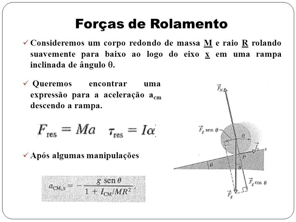 Forças de Rolamento Consideremos um corpo redondo de massa M e raio R rolando suavemente para baixo ao logo do eixo x em uma rampa inclinada de ângulo
